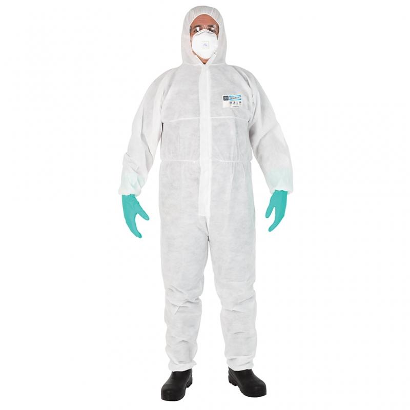 white disposable suit