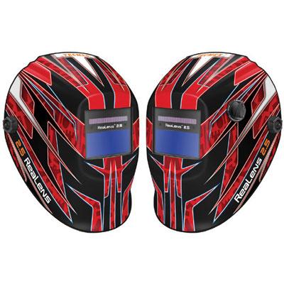 auto darkening red welding helmet