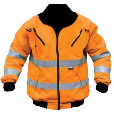 orange reflective bunny jacket