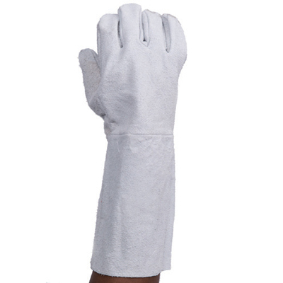chrome leather elbow length glove