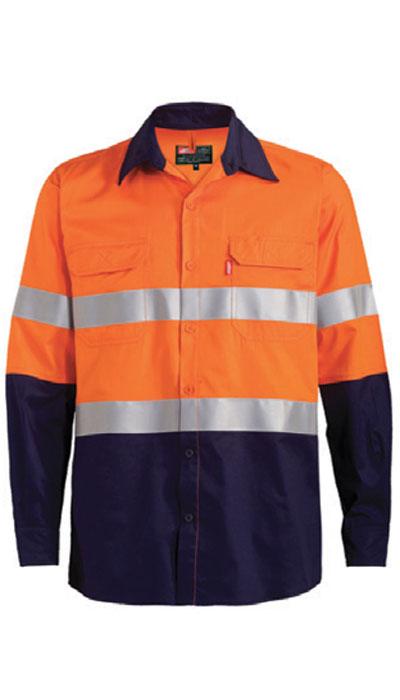 hi-viz orange workwear long sleeve shirt