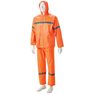 orange hi-viz rain suit
