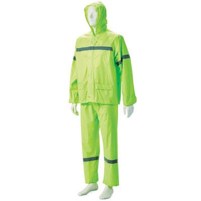 green hi-viz rubberised rain suit