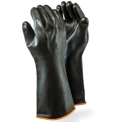 rubber latex black elbow gloves