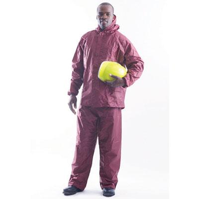 red rubberised suit