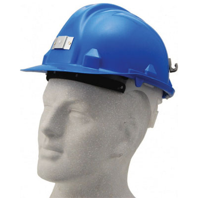blue safety helmet with lamp bracket
