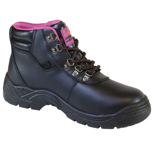 profit footwear scarlet safety boot black and pink