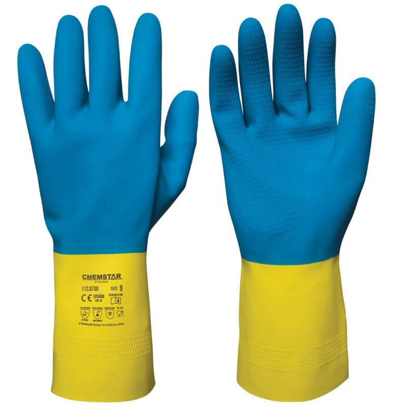 granberg blue and yellow latex safety gloves 112.0700 chemstar