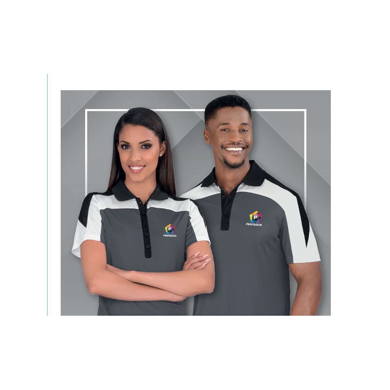 man and woman wearing corporate clothing