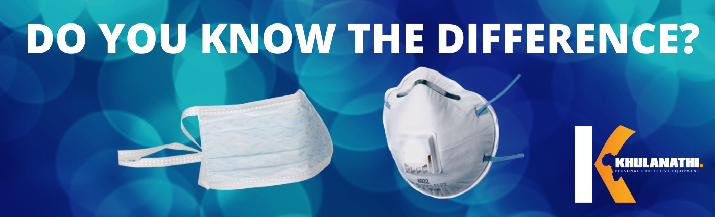 an image of a surgical mask and an image of a respirator to compare