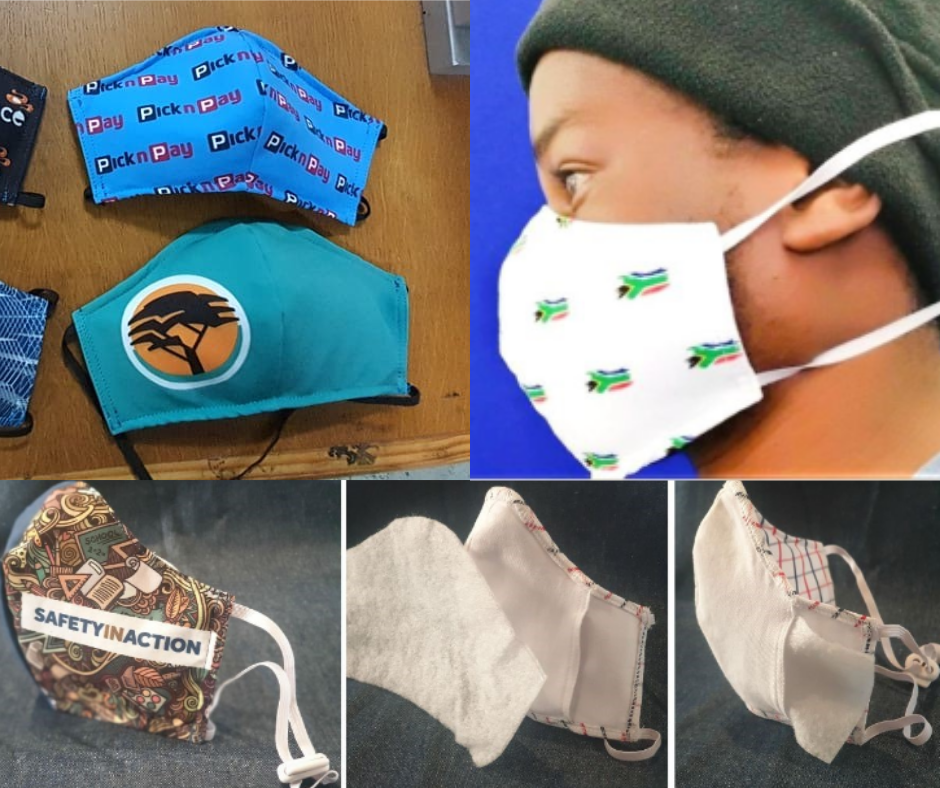 a range of branded fabric face masks including South African flag printed mask