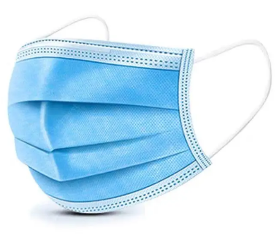 surgical mask blue with white elasticated ear loops