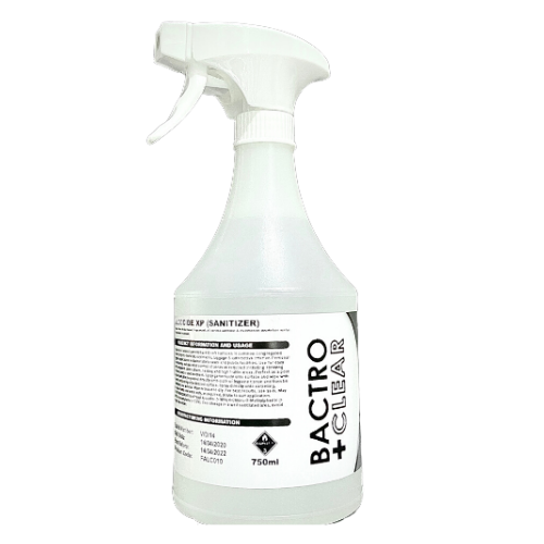bactro clear 750ml hand sanitiser in a spray bottle