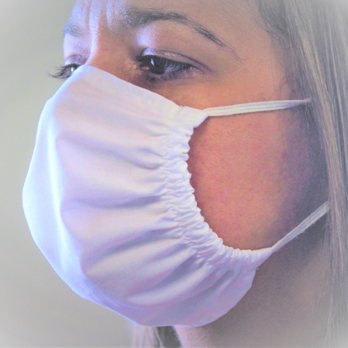 antimicrobial mask on a lady