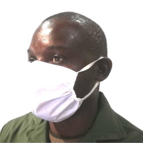 antimicrobial white face mask worn by a man with white background