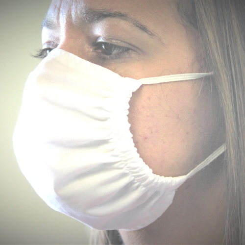 antimicrobial fabric reusable face mask on a woman's face