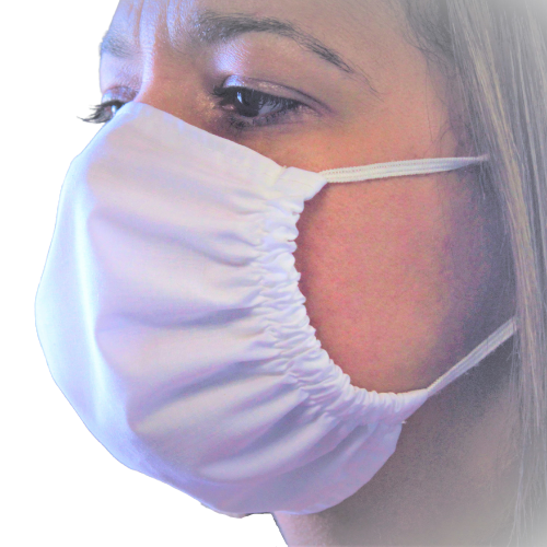 antimicrobial mask on a lady's face
