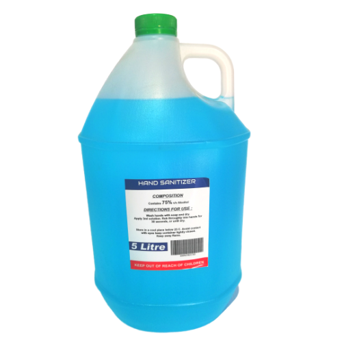 5 litre bottle of blue hand sanitiser with white background