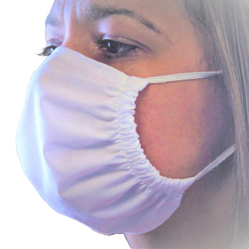 antimicrobial reusable mask on lady