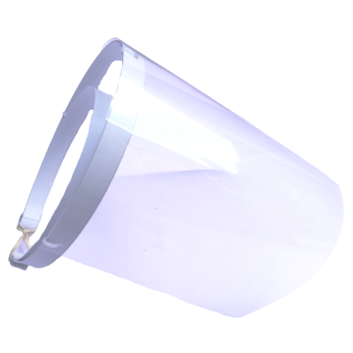 240 micron clear face shield with white background