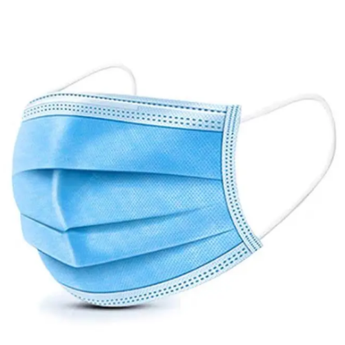 blue surgical mask on white background