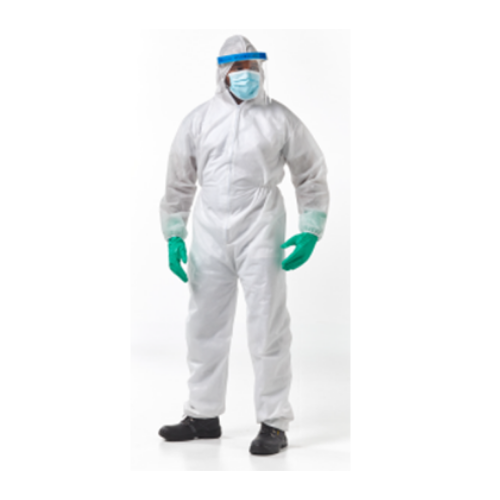 dromex white disposable coverall being worn by a man