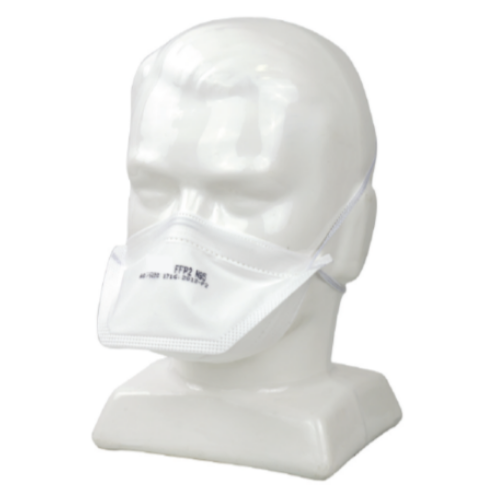 N95, FFP2 disposable respirator on a mannequin head