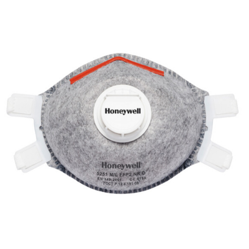 Honeywell 5251 M/L grey face mask with red nose clip and filter